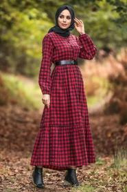 Neva Style - Ekoseli Kırmızı Tesettür Elbise 43280K - Thumbnail