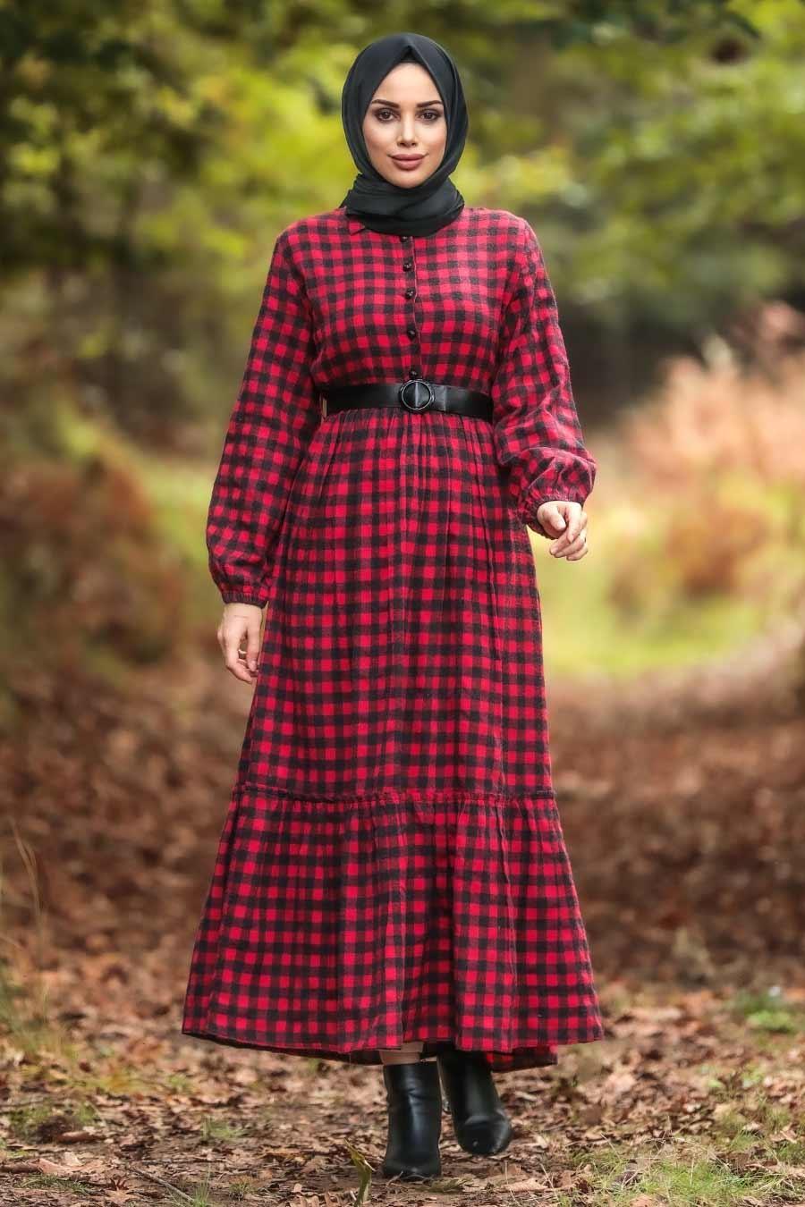 Neva Style - Ekoseli Kırmızı Tesettür Elbise 43280K