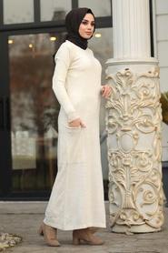 Neva Style - Ekru Tesettür Triko Elbise 15369E - Thumbnail