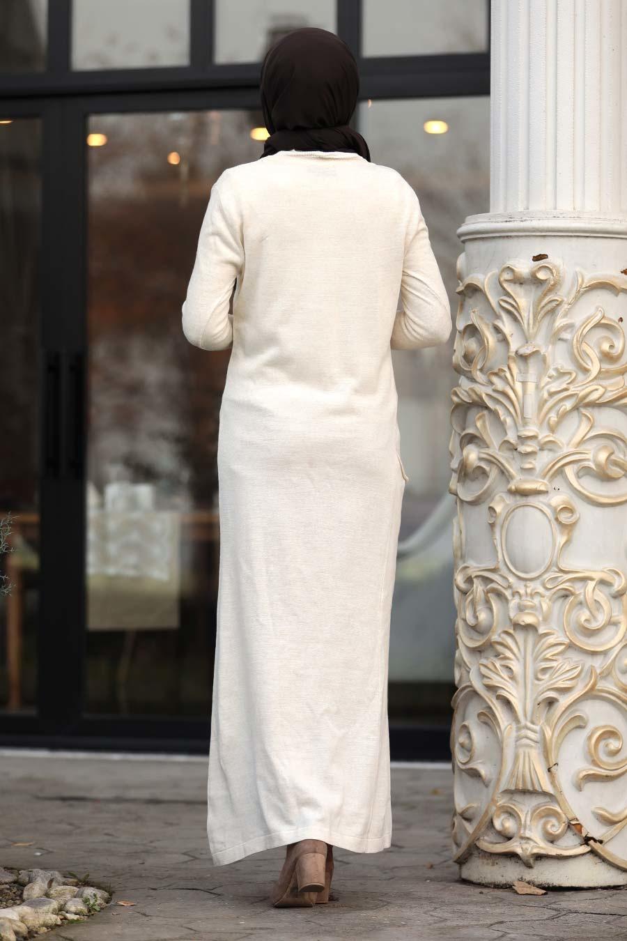 Neva Style - Ekru Tesettür Triko Elbise 15369E