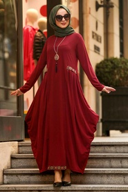 Neva Style - Etnik Desen Detaylı Bordo Tesettür Elbise 9540BR - Thumbnail