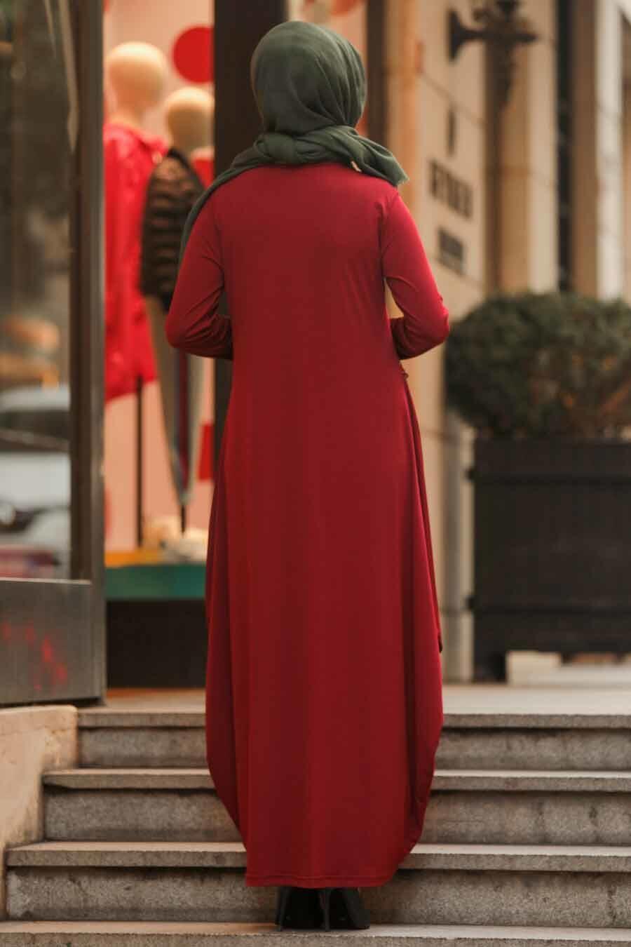 Neva Style - Etnik Desen Detaylı Bordo Tesettür Elbise 9540BR