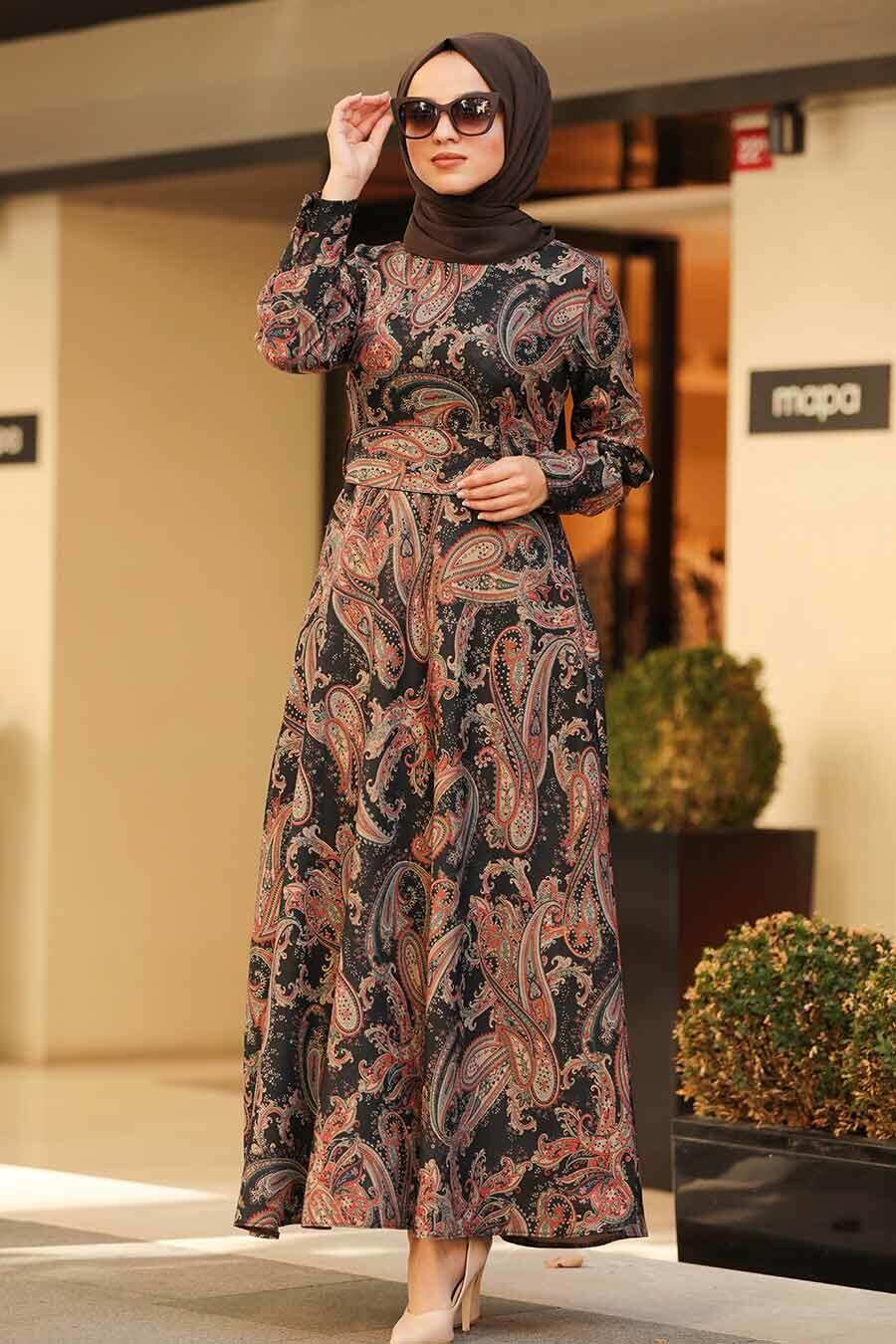 Neva Style - Etnik Desenli Siyah Tesettür Elbise 7591S