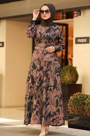 Neva Style - Etnik Desenli Siyah Tesettür Elbise 7591S - Thumbnail