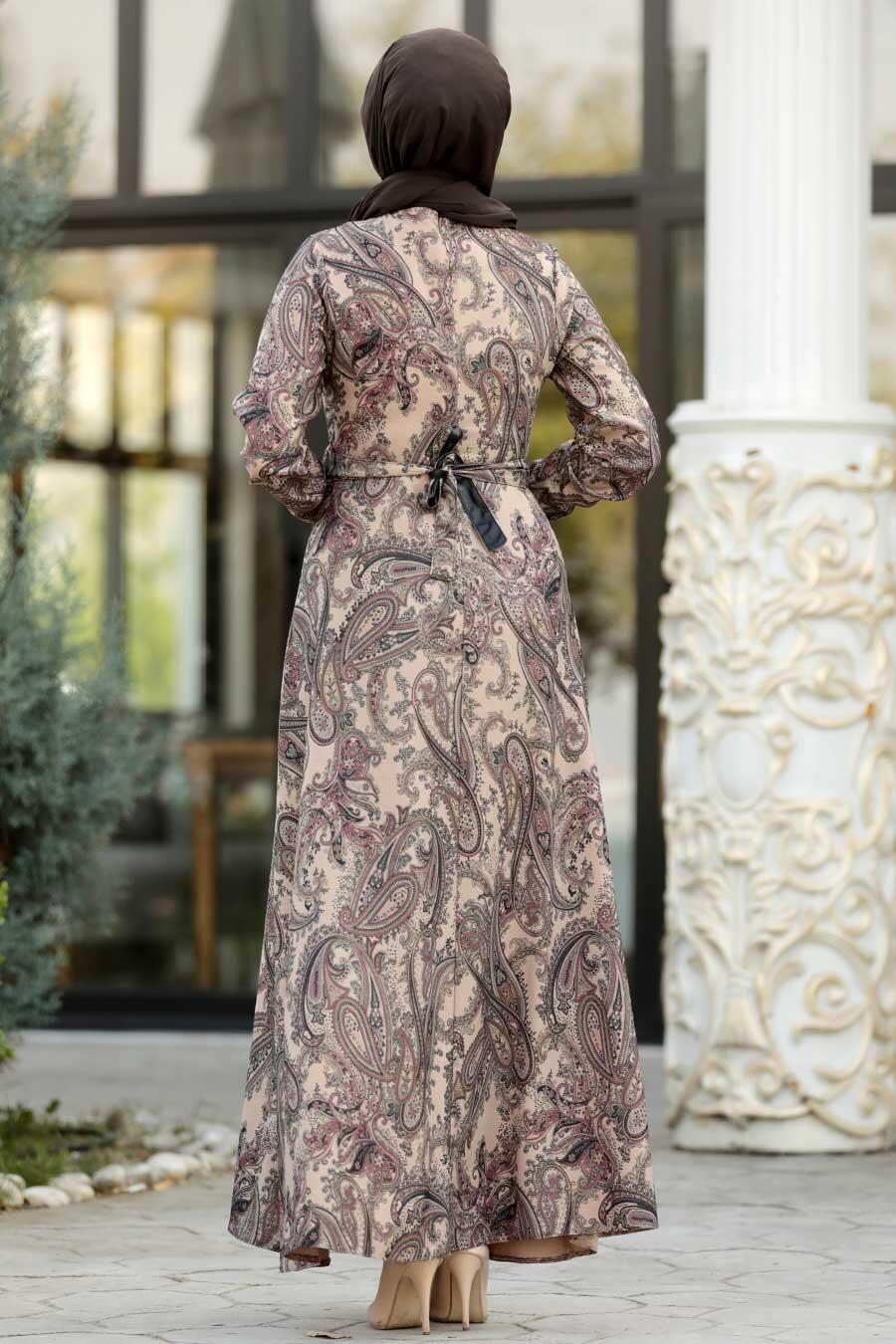 Neva Style - Etnik Desenli Vizon Tesettür Elbise 7591V