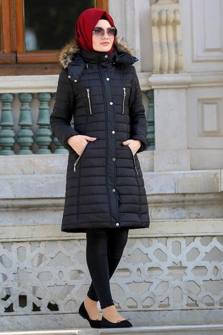 Neva Style - Fermuar Detaylı Siyah Şişme Mont 50520S
