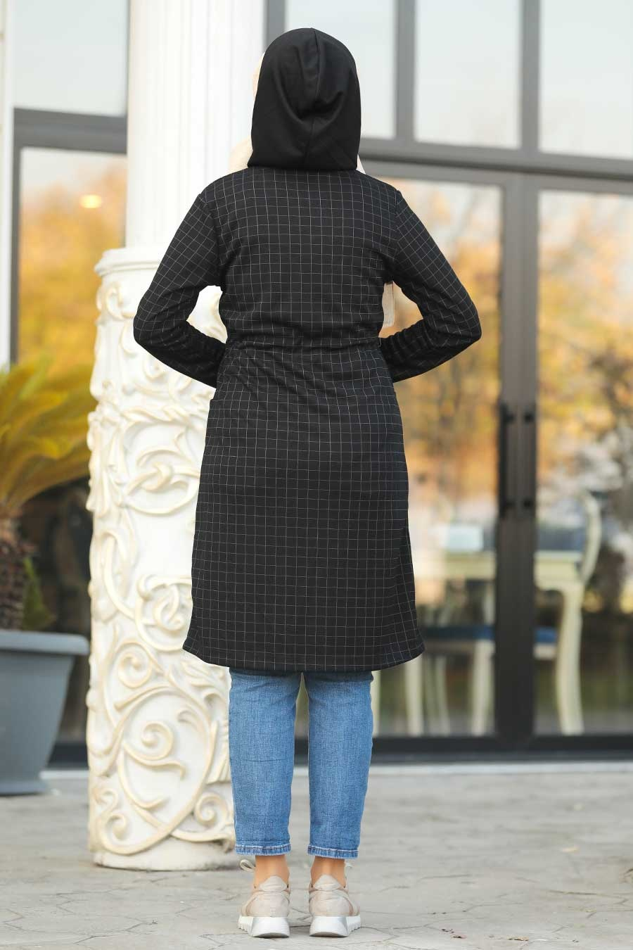 Neva Style - Fermuar Detaylı Siyah Tesettür Kap 6068S