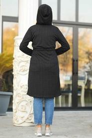 Neva Style - Fermuar Detaylı Siyah Tesettür Kap 6068S - Thumbnail