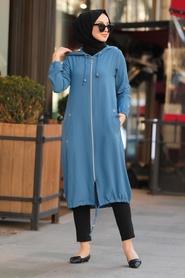 Neva Style - Fermuarlı İndigo Mavisi Tesettür Kap 10045IM - Thumbnail