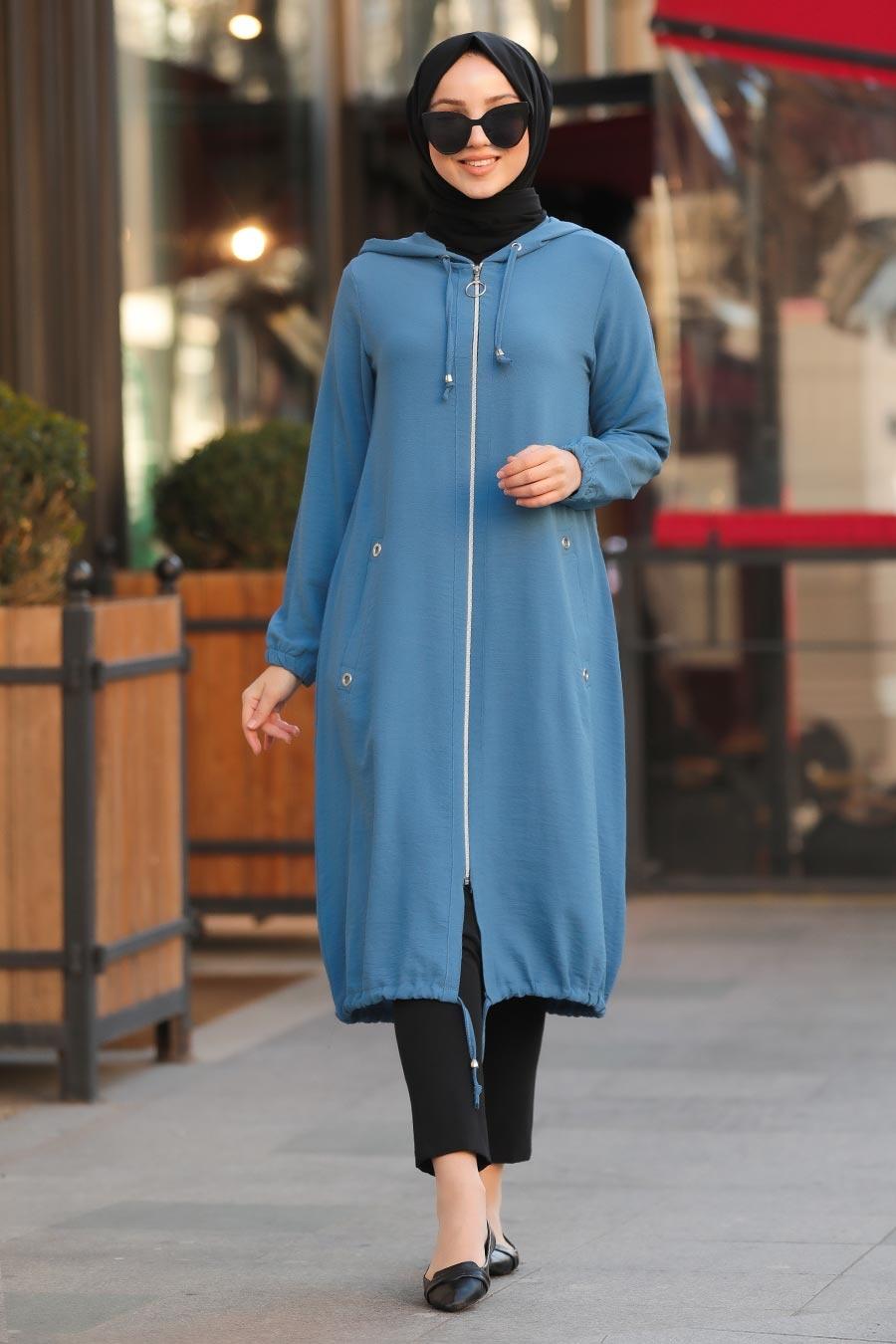 Neva Style - Fermuarlı İndigo Mavisi Tesettür Kap 10045IM