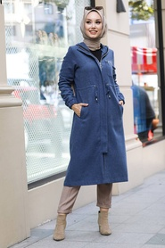 Neva Style - Fermuarlı İndigo Mavisi Tesettür Kap 5565IM - Thumbnail