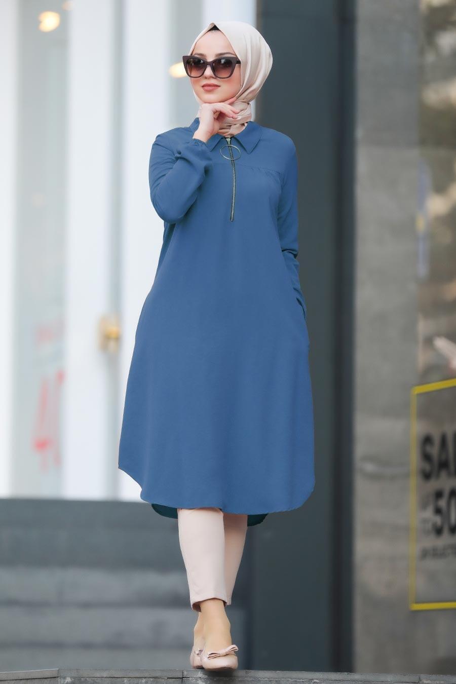 Neva Style - Fermuarlı İndigo Mavisi Tesettür Tunik 467IM