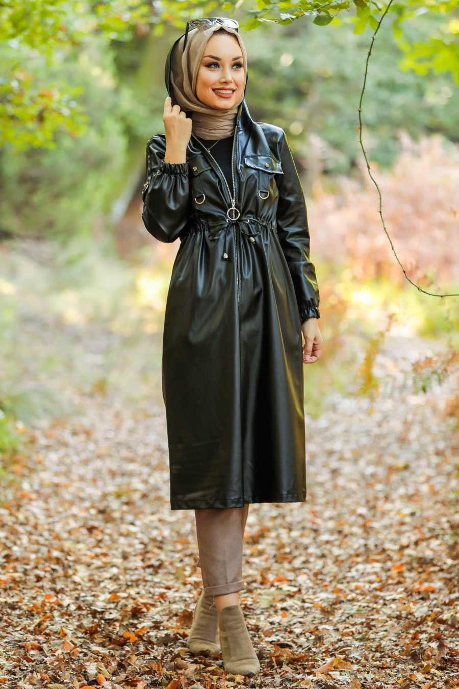 Neva Style - Fermuarlı Siyah Tesettür Deri Kap 6775S