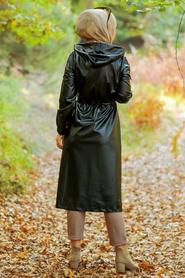 Neva Style - Fermuarlı Siyah Tesettür Deri Kap 6775S - Thumbnail