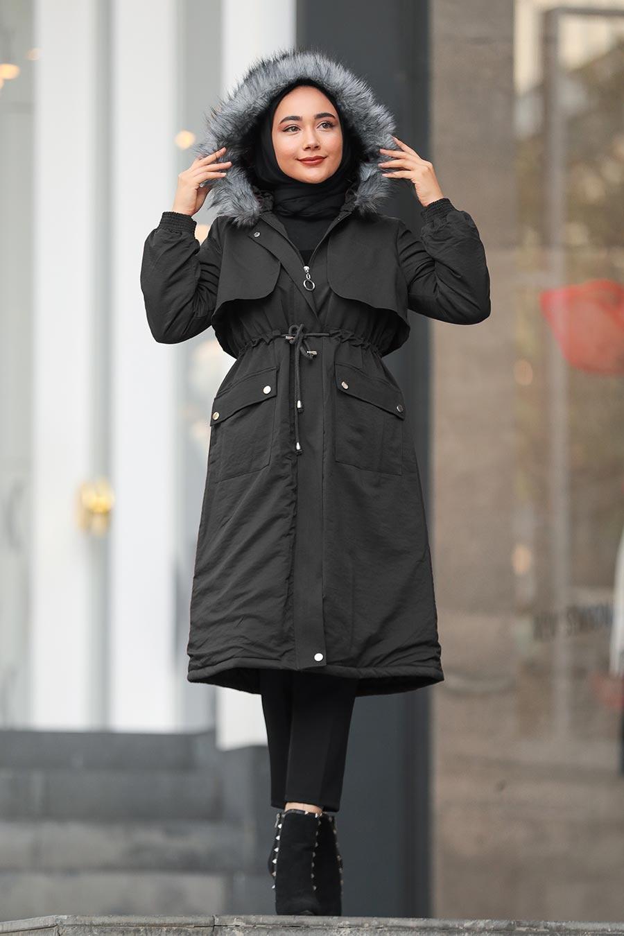 Neva Style - Fermuarlı Siyah Tesettür Kaban 90690S