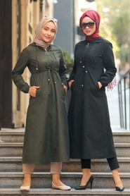 Neva Style - Fermuarlı Siyah Tesettür Kap 51701S - Thumbnail