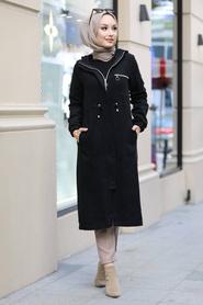 Neva Style - Fermuarlı Siyah Tesettür Kap 5565S - Thumbnail
