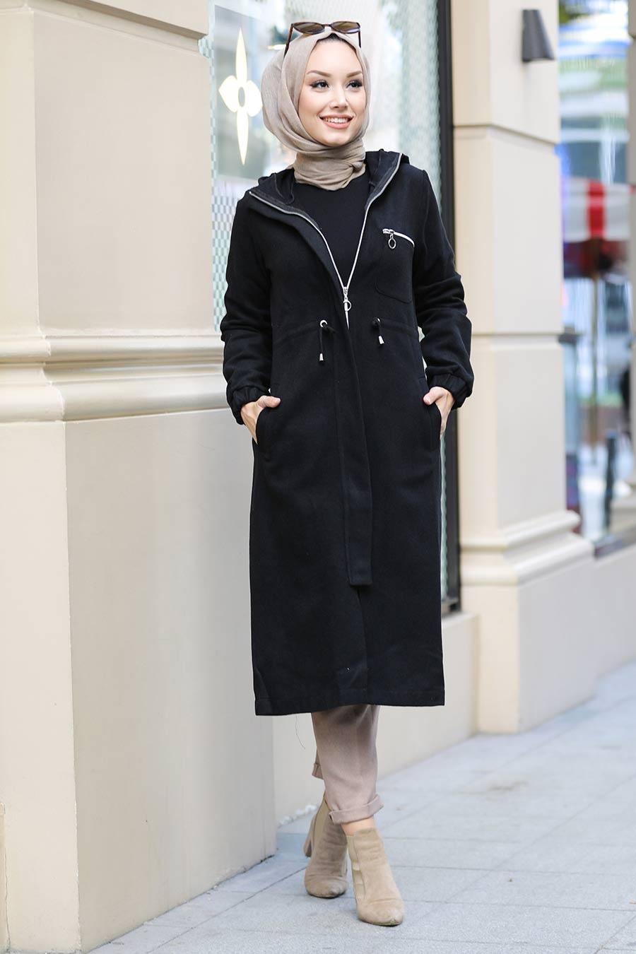 Neva Style - Fermuarlı Siyah Tesettür Kap 5565S