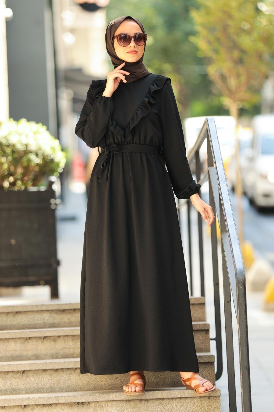 Neva Style - Fırfır Detaylı Siyah Tesettür Elbise 2742S