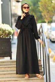 Neva Style - Fırfır Detaylı Siyah Tesettür Elbise 2742S - Thumbnail