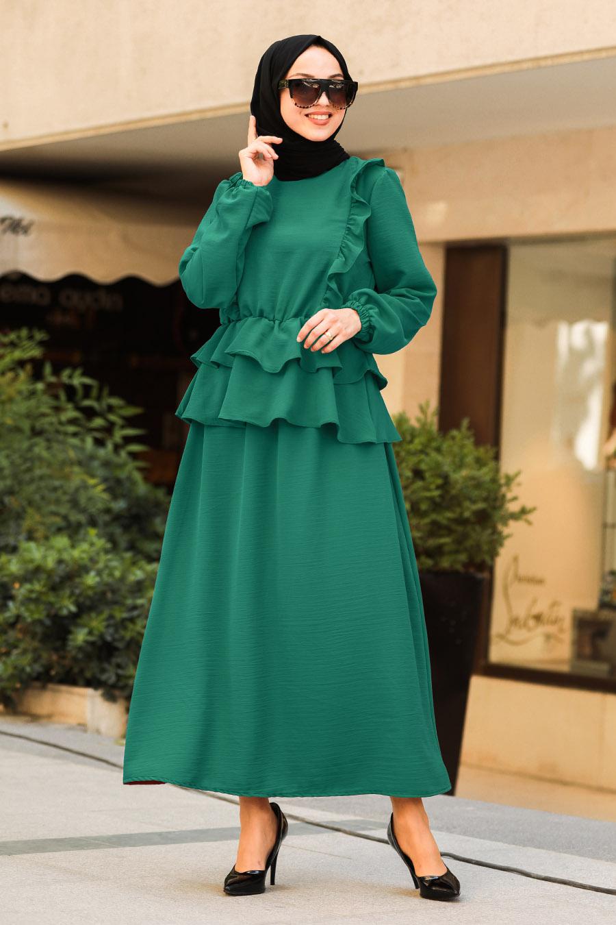 Neva Style - Fırfır Detaylı Yeşil Tesettür İkili Takım 10051Y