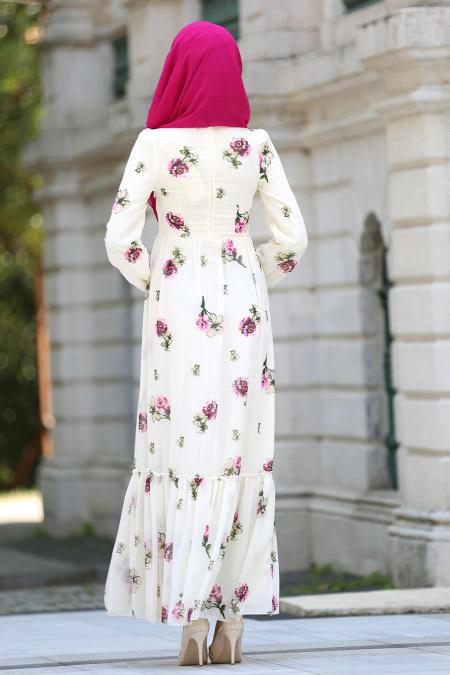 Neva Style - Fırfırlı Çiçek Desenli Bej Tesettür Elbise 7786BEJ