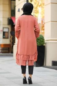 Neva Style - Fırfırlı Kiremit Tesettür Tunik 39260KRMT - Thumbnail