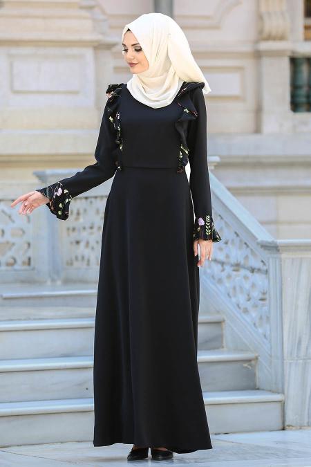 Neva Style - Fırfırlı Siyah Tesettür Elbise 25616S