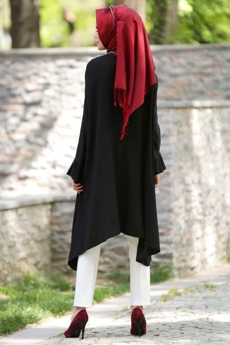 Neva Style - Fırfırlı Siyah Tunik