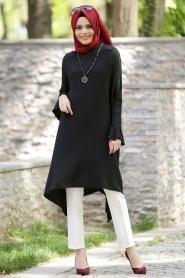 Neva Style - Fırfırlı Siyah Tunik - Thumbnail