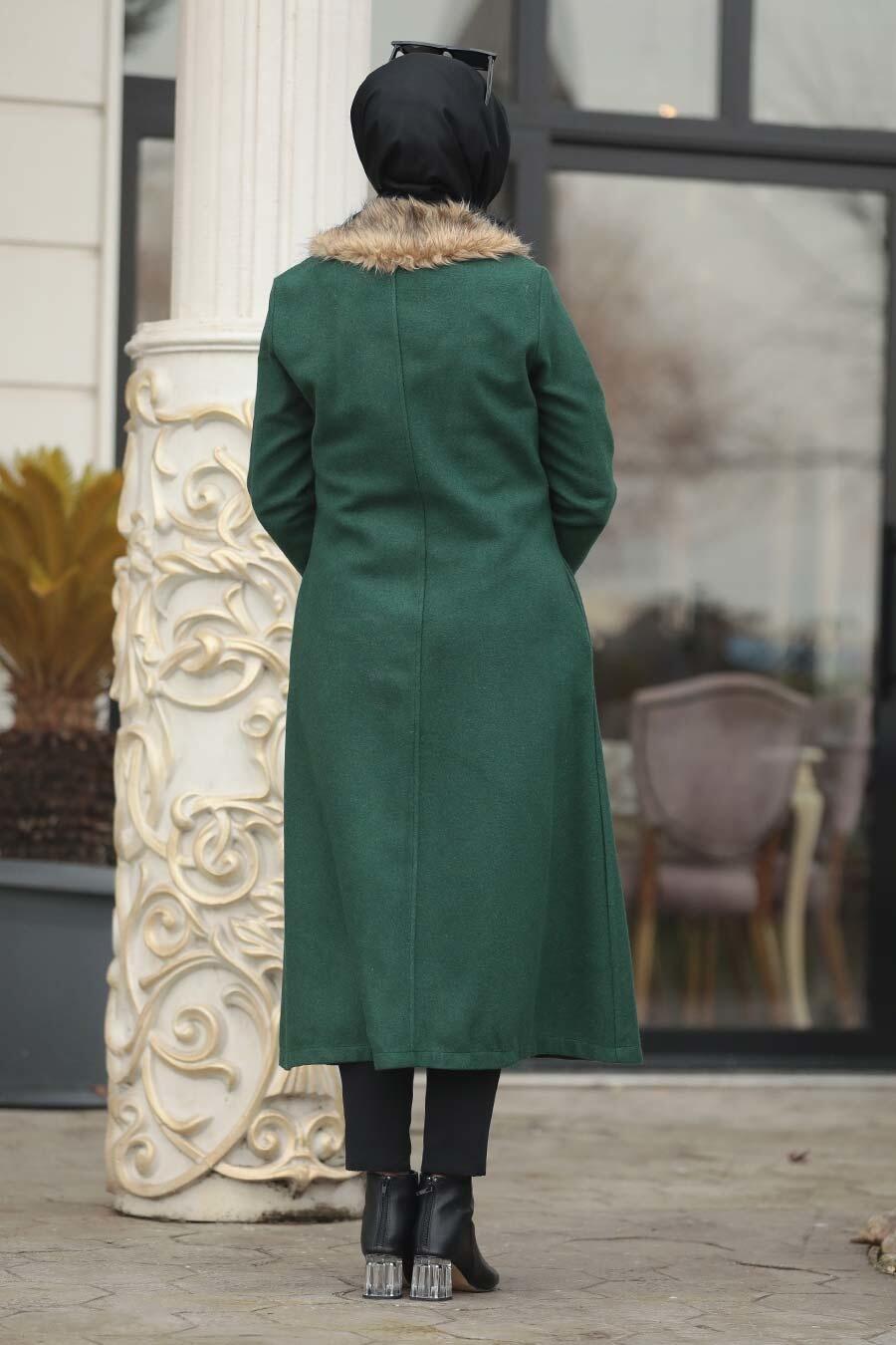Neva Style - Green Hijab coat 50840Y