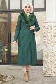 Neva Style - Green Hijab Coat 5098Y - Thumbnail