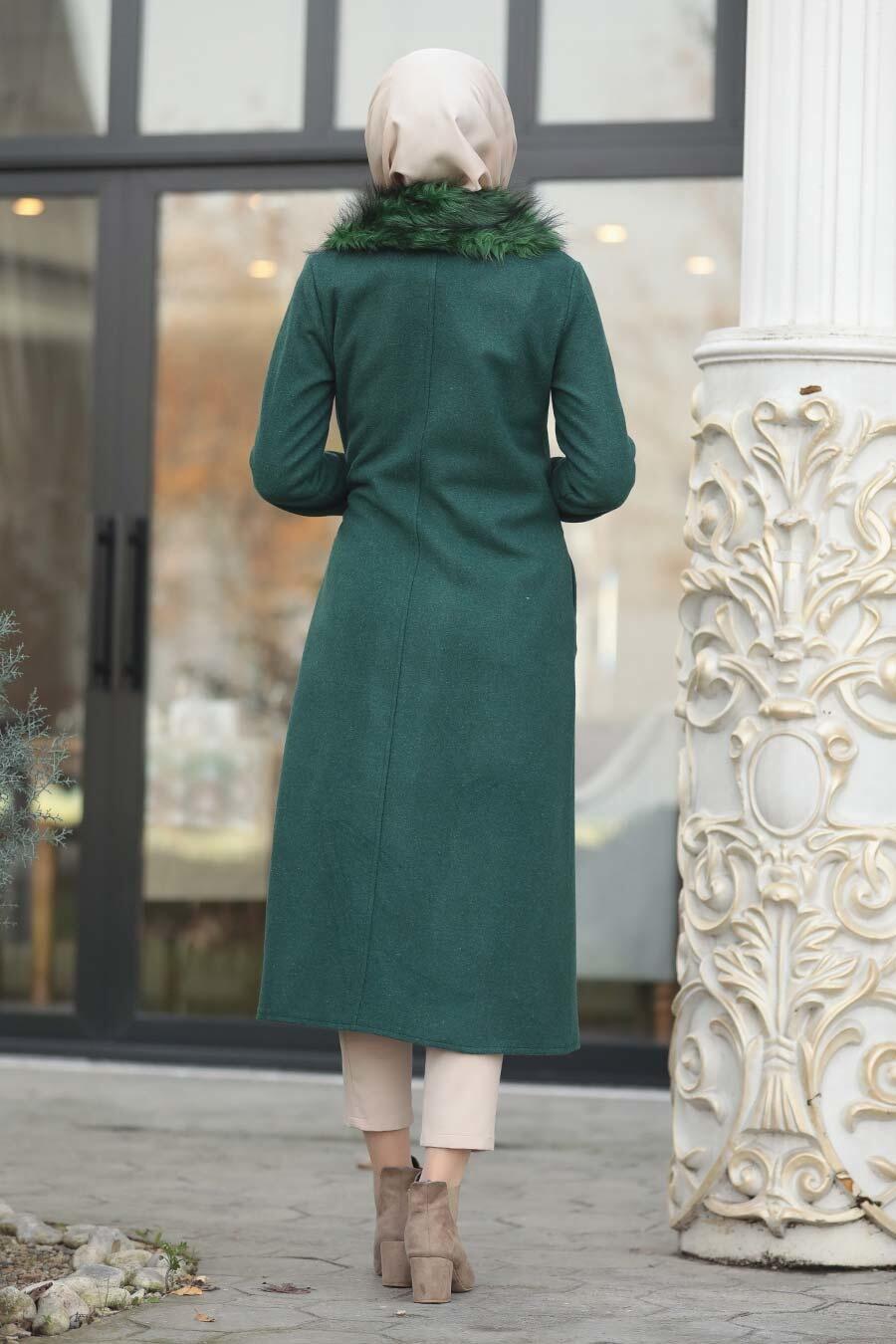 Neva Style - Green Hijab Coat 5098Y