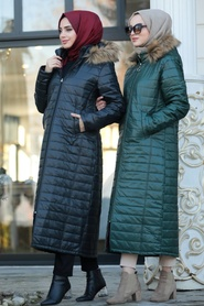 Neva Style - Green İnflatable Coat 10650Y - Thumbnail