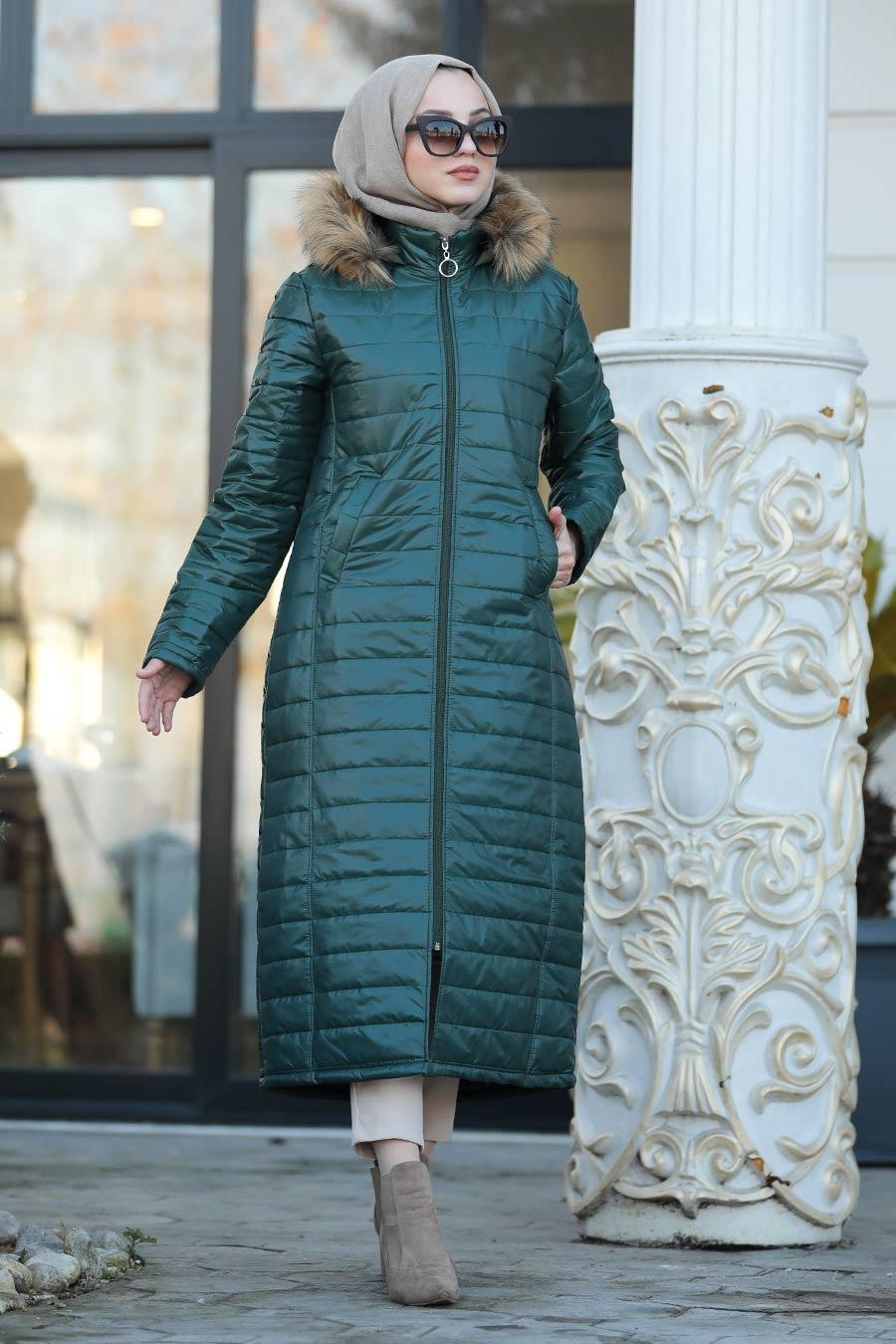 Neva Style - Green İnflatable Coat 10650Y