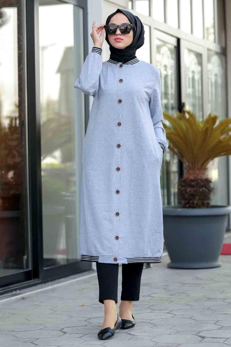 Neva Style - Grey Hijab Coat 60251GR