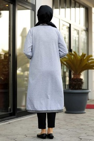 Neva Style - Grey Hijab Coat 60251GR - Thumbnail