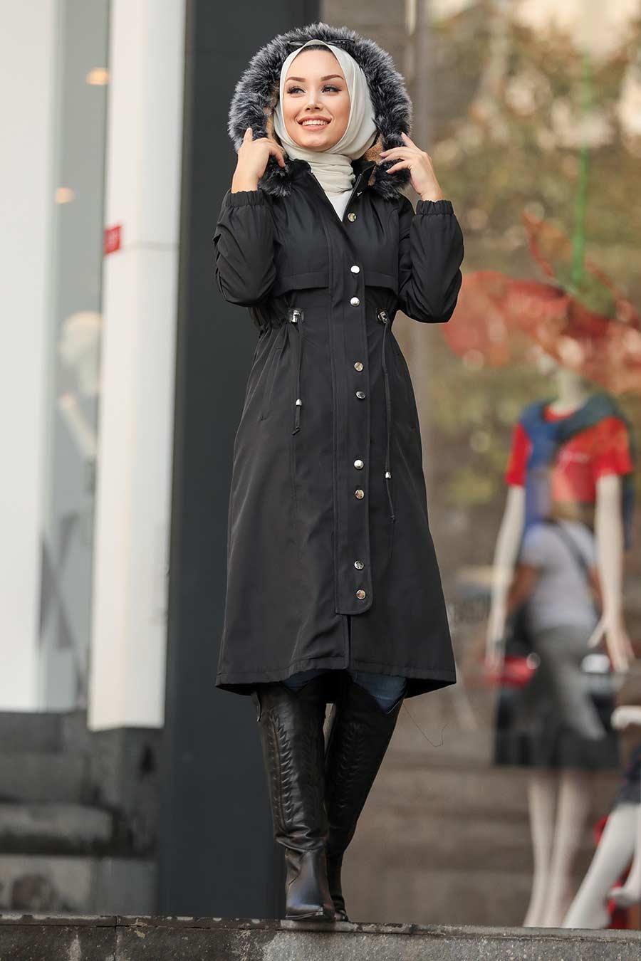 Neva Style - İçi Kürklü Düğmeli Siyah Tesettür Parka 6606S