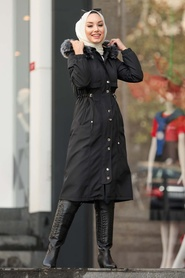 Neva Style - İçi Kürklü Düğmeli Siyah Tesettür Parka 6606S - Thumbnail