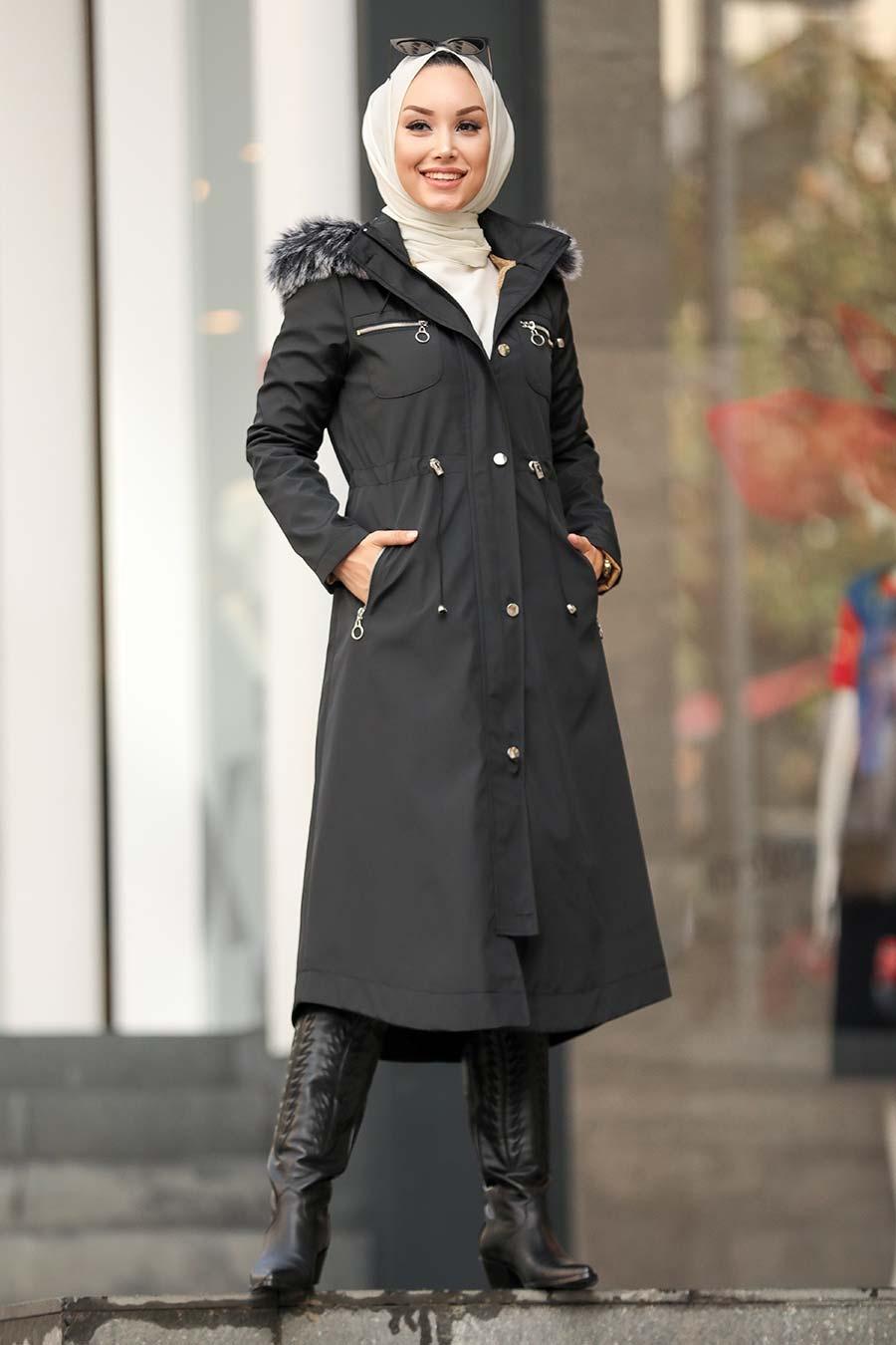 Neva Style - İçi Kürklü Siyah Tesettür Parka 63774S