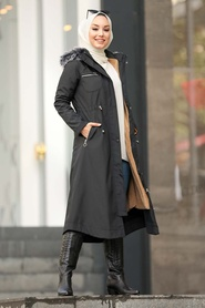 Neva Style - İçi Kürklü Siyah Tesettür Parka 63774S - Thumbnail