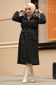 Neva Style - İçi Kürklü Siyah Tesettür Parka 90670S - Thumbnail
