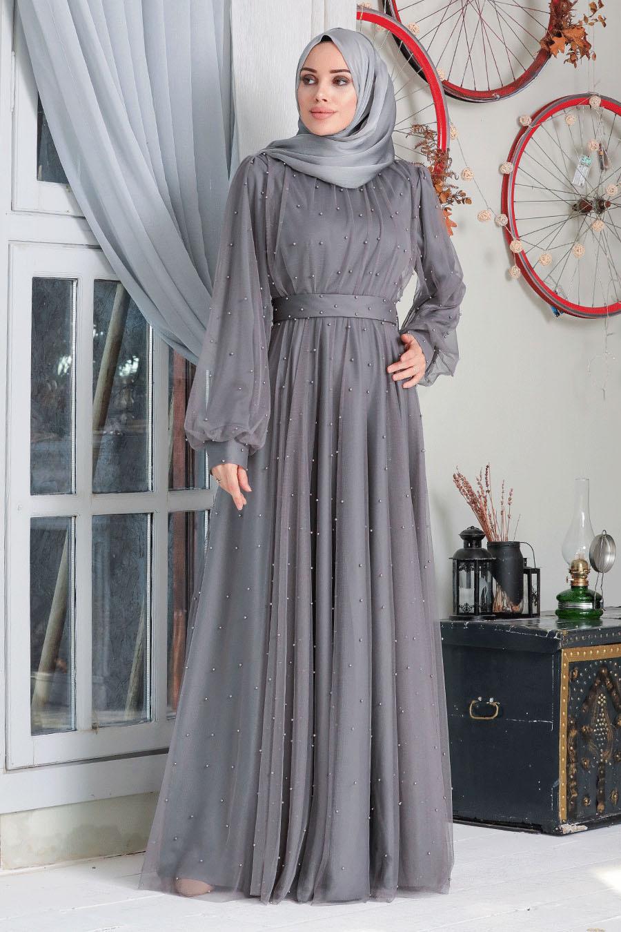 Neva Style - İnci Detaylı Füme Tesettür Abiye Elbise 50080FU
