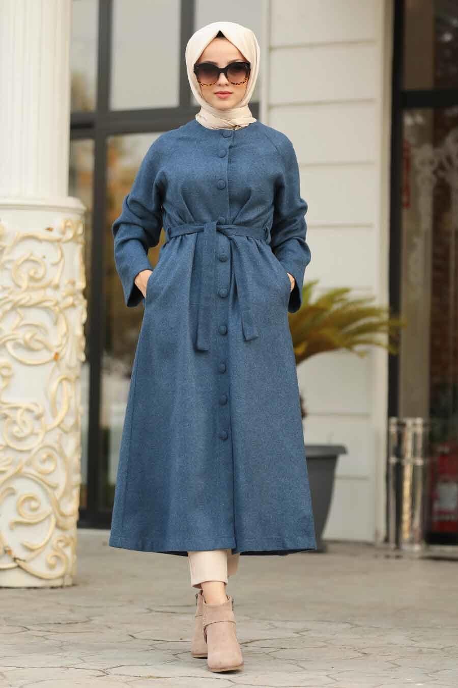 Neva Style - Indigo Blue Hijab Felt Coat 5505IM