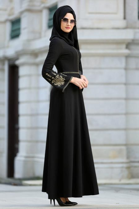 Neva Style - İşlemeli Volan Kol Siyah Tesettür Abiye Elbise 10586S