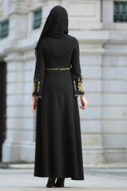 Neva Style - İşlemeli Volan Kol Siyah Tesettür Abiye Elbise 10586S - Thumbnail