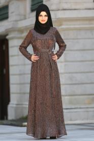 Neva Style - Kahverengi Tesettür Abiye Elbise 3560KH - Thumbnail