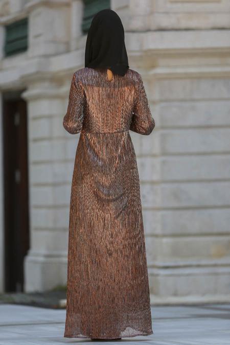Neva Style - Kahverengi Tesettür Abiye Elbise 3560KH