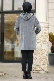 Neva Style - Kapşonlu Füme Tesettür Kadife Tunik 41441FU - Thumbnail