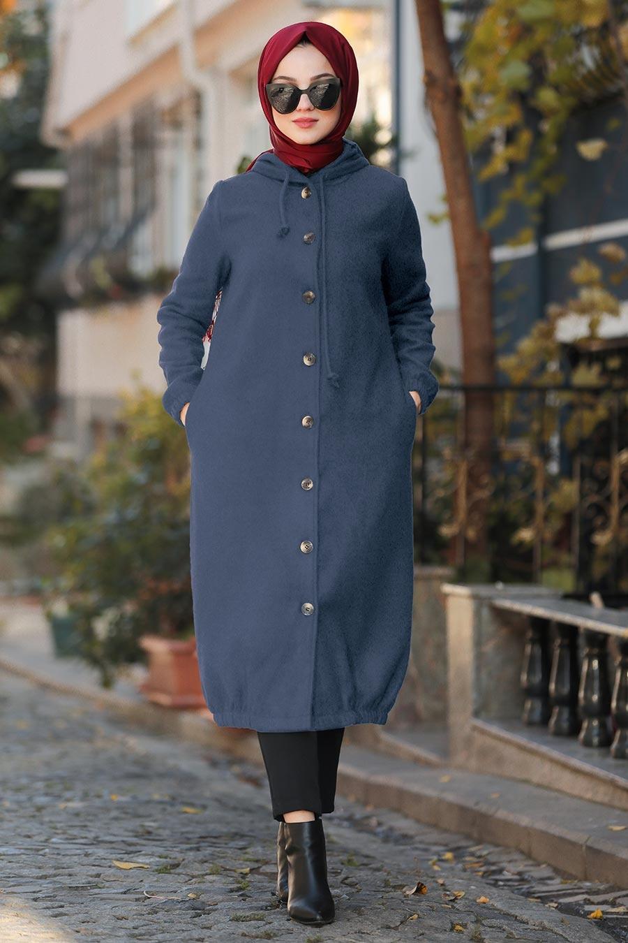 Neva Style - Kapşonlu İndigo Mavisi Tesettür Kaşe Kap 5403IM